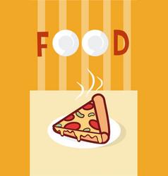 Pizza italian fast food cartoon menu cover vector