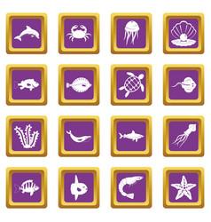 sea animals icons set purple vector image