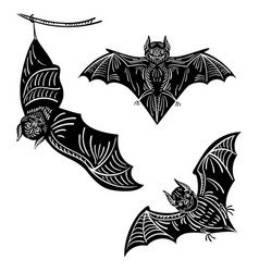 set of bats a collection of terrible bats for vector image vector image
