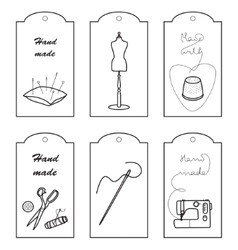 Set of lables for hand sewn vector