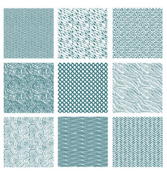 Set of seamless abstract pattern waves background vector