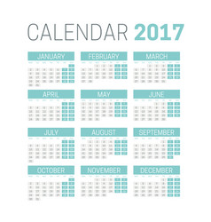 simple 2017 calendar template on white background vector image vector image