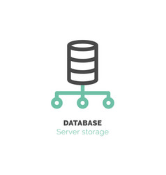 Simple icon of database flat bicolor line design vector