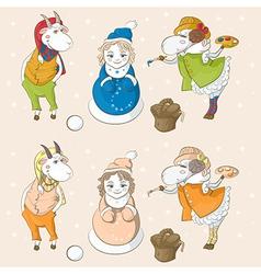 Snowmaiden goat sheep vector