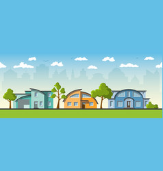 three modern houses with barrel roof vector image vector image