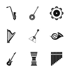 Tools for music icons set simple style vector