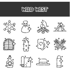 wild west cartoon concept icons vector image vector image