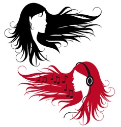 Woman with curly long hair vector
