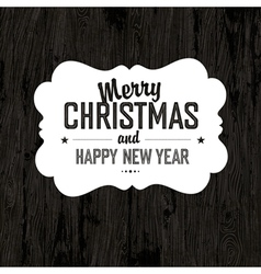 xmas label on wooden board vector image