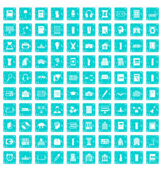 100 library icons set grunge blue vector