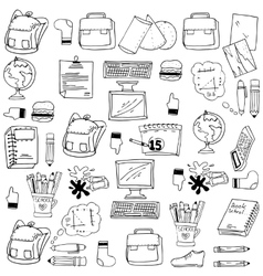 Many object school doodles stock vector