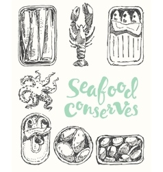 Seafood conserves vintage engraved drawn sketch vector
