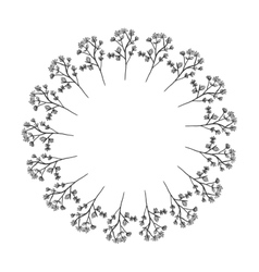 Shape of sphere with branches of flowers vector