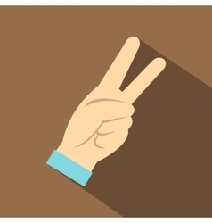 Two fingers raised up gesture icon flat style vector