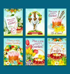 easter egg hunt celebration cartoon poster set vector image