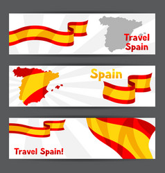 Banners with flag and map of spain spanish vector
