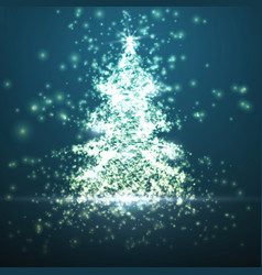 Shining christmas tree on blue vector