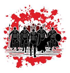 Group of spartan warrior roman fighter walking w vector