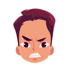 Young man face angry facial expression vector