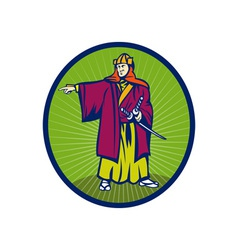 Samurai warrior with katana sword pointing side vector