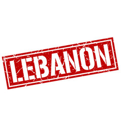 Lebanon red square stamp vector