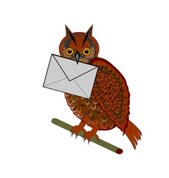 A funny owl with a letter in his beak vector