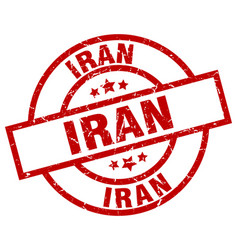 Iran red round grunge stamp vector