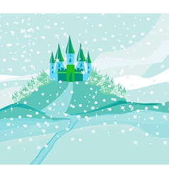 Winter landscape with castle vector