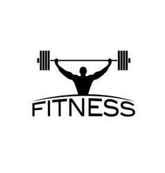 Bodybuilder fitness model with barbell silhouette vector