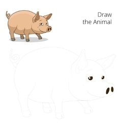 Draw the animal pig educational game vector
