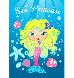 Sea princess swimming under the sea vector