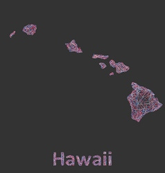 Hawaii islands line art map vector