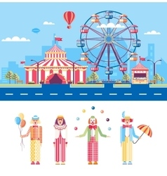 Circus and clowns vector