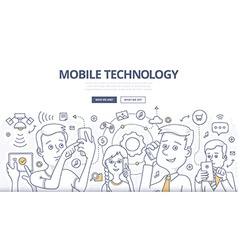 Mobile Technology Doodle Concept vector image