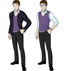 Caucasian office clerk in casual formal wear vector
