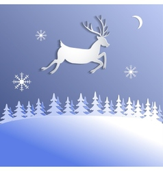Abstract background with paper cut deer vector image vector image