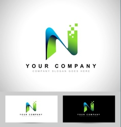 Abstract letter N logo design vector image