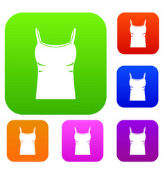 blank women tank top set color collection vector image