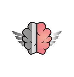 Brain human with wings creative icon vector
