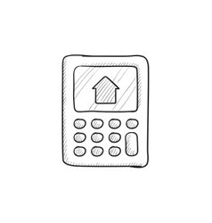 Calculator with house on display sketch icon vector image