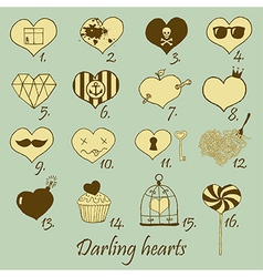 Darling hearts vector image