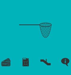 fishing net icon flat vector image vector image