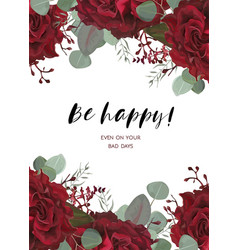 Floral card design with watercolor floral vector