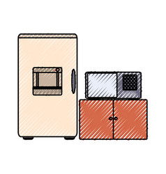 fridge and microwave vector image vector image