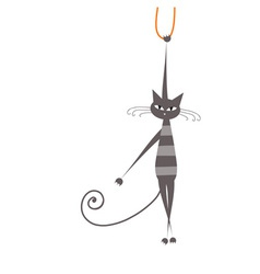Funny grey striped cat for your design vector image vector image