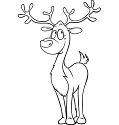 funny reindeer - black outline on white - coloring vector image