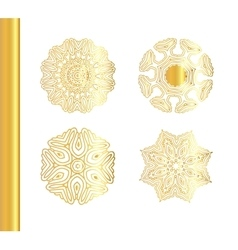 Geometric gold mandala set vector