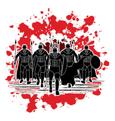 group of spartan warrior roman fighter walking w vector image vector image