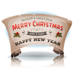 Happy new year and merry christmas on parchment vector