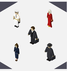 isometric human set of seaman businesswoman vector image vector image